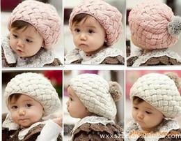 Wholesale NWT Children Caps Beanie Hat Cap Girls Cute Beret Sweater Cap Bucket Hat Knit Cap Kids Top Hat Fashion Sweaters Princess Caps Baby Hat A1893
