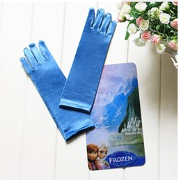 Wholesale full finger gloves frozen elsa gloves kids gloves costume Long Blue gloves snow Queen Elsa Cartoon Party Costumeschildren s gloves hot sale