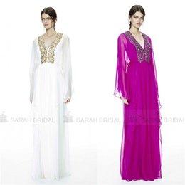 Wholesale Arabic Luxury Dubai Abaya Long Sleeves Evening Dresses with Sexy V Neck Saudi Arabian Kaftan Formal Gowns Crystals Sheath Vestidos Sale