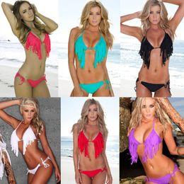 Wholesale Women Sexy Fashion Bikini sets Bathing Beach Swim Wear Swimsuit Halter Tassel Fringe TOP Padded colors