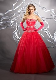 Wholesale Debutante Cheap Quinceanera Dresses Red Strapless Beading Quinceanera Ball Gowns Puffy Vintage Prom Dress