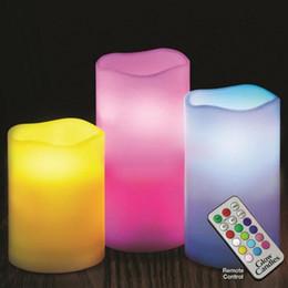 5 juegos por control remoto NUEVO 12 LED de color cambiante sin llama que brilla intensamente real velas de cera 1set = 3pcs