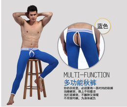 Wholesale Thermal Underwear Comfy Sexy Warm Pants Leggings Penis Bag Open ass male jockstrap Hollow See through Healthy Long Johns Crazy gay for man