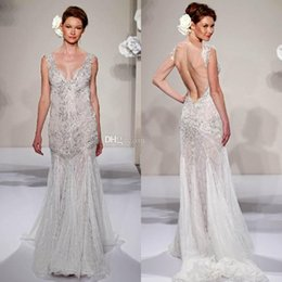 Wholesale 2014 New Collections Pnina Tornai Sheath Wedding Dresses Bridal Gowns With Sheer V Neck Backless Applique Beads Lace Crystal Sweep Train