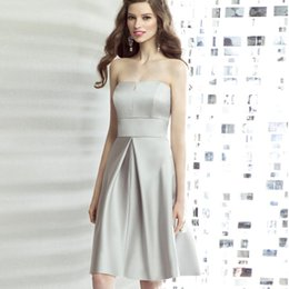 Wholesale 2015 Cheap Modest Under Elastic Satin Strapless Bridesmaid Dresses Gray Silver Knee Length A Line Sexy Short Prom Dress