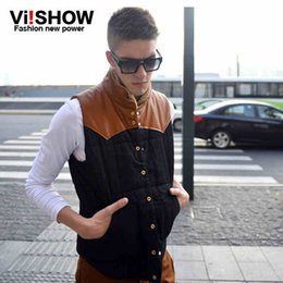 Wholesale 2015 new high quality Viishow Vest men winter brand sport outdoor casual yellow black PU Sleeveless mens cotton pocket desinger outwear