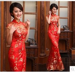 Wholesale 2015 quality paillette lace fish tail slim evening dress the bride cheongsam wedding dress red chinese style