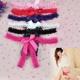Wholesale Hot Womens Sexy Bowknot Lace Open Crotch Thongs G string V string Panties Sexy Costumes Black Pink Red White Purple Rose Underwear Sale