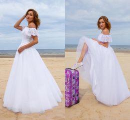 Wholesale Romantic Beach Wedding Dresses Tulle Lace Off The Shoulder Floor Length Boho Wedding Gowns Summer Spring Bridal Dresses Vestidos Custom Made