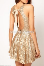 Wholesale 2015 Latest Fashion Sexy Short Sequin Gold Strapless Open Back Corset Homecoming Dress Top Designer Cocktail Dress Cheap Sale