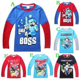 Wholesale design Planet Minecraft Creeper Games Items Steve Boys T Shirts Kids Long sleeve Cartoon Summer Children T shirt