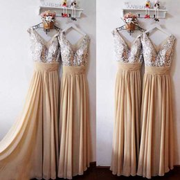 Wholesale Gorgeous In Stock Bridesmaid Dress A Line V Neck Sleeveless Sequins Bodice Chiffon Formal Prom Gowns