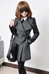 Wholesale New casaco feminino inverno Brand long wool winter coat Women with leather sleeves High quality manteau femme