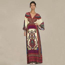 Wholesale 2016 New Autumn Style Vintage Long Sleeve Maxi Dress Sexy Boho V Neck Long Beach Dress