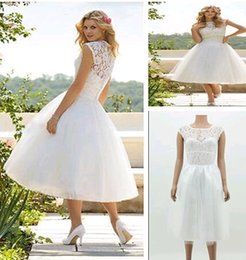 Wholesale 2015 Women A Line High Collar Tea Length Tulle Appliques Wedding Lace Dress