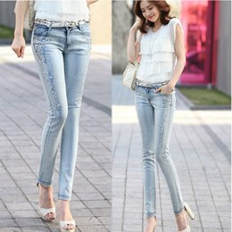 Wholesale Venta al por mayor popular la moda coreana azul claro de las mujeres señoras de las muchachas los granos largos Skinny Jeans Vaqueros Pantalones la gota libre del envío