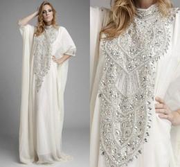 Wholesale Dubaï Kaftan Pakistan Abaya robes de mariée en haut du cou avec manches longues cristaux de luxe strass blanc en mousseline de soie robe arabe robe de soirée
