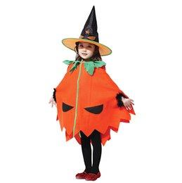 Wholesale 2014 Halloween Pumpkin Costume Children Masquerade Party Clothes Dress Props Cute Kids Halloween Cosplay Hat Gloves