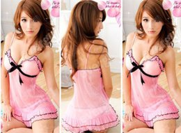 Wholesale Hot Women s Sexy Lingerie Lace Dress Underwear Black Babydoll Sleepwear G string