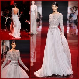 Wholesale 2015 Discount Cheap Custom Made Applique Beaded Backless Long Sleeve Evening Dresses Prom Dress Chiffon Formal Gowns