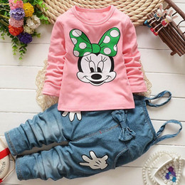 Wholesale Mickey Denim Sets For Baby Girls Minnie Mouse Cartoon Print Animals T Shirts Sling Bow Jeans Pants Trousers PC Track Suits Kids Outfits
