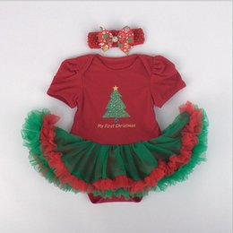 Wholesale 2015 New Arrival Baby Girls Cotton Jumpers Best Sale Christmas Day Infants Short Sleeve Tutu Dress Romper And Cute Bow Headband Pieces Set