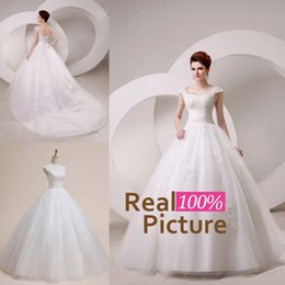 Wholesale Hot Sale Pretty Ivory Wedding Gowns Cap Sleeves Lace Appliques Beads Ball Gown Sweep Train Tulle Wedding Dress In Stock Real Image
