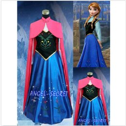 Wholesale New syle FROZEN Princess Anna Dress Cloak Suit Adult Girl Cosplay Costume Size S XXL DH04