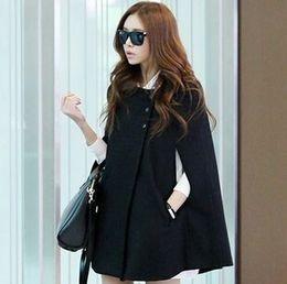 Wholesale Fashion Womens Black Batwing Cape Wool Poncho Jacket Winter Warm Cloak Coat