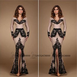 Wholesale 2016 Amazing Nude and Black Lace Applique Split Evening Formal Party Dresses Peplum V neck Mermaid Long Sleeve Arabic Prom Dress