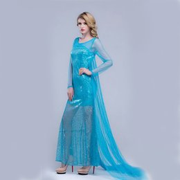 Wholesale Ice Blue Sequins Elsa Costume Dresses For Women Mermaid Dress With Train Club Maxi Dress Factory Women Clothing Sweep Train