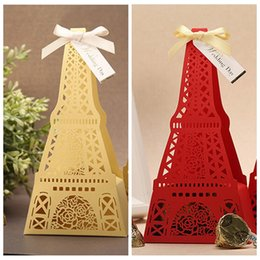Wholesale Gold Red Tower Wedding Candy Boxes Gift Box DIY Chocolate Package Favor Holders Wedding Suppliers Favor Boxes New Hollow