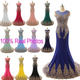 Wholesale Plus Size Sheer Neck Prom Evening Dresses Lace Embroidery Real Image Red Black Fuchsia Royal Blue Formal Wedding Party Gowns Arabic