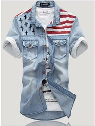 Wholesale denim shirt top pop korea style flag vintage denim tops men short sleeve Slim wear white washed denim tide
