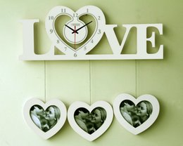 contemporary clock wood photo frame large wall clock living room modern design diy big wall clock