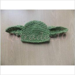 Wholesale 50pcs CCA2885 New Arrival Baby Star Wars Yoda Crochet Hats Children Cartoon Wars Yoda Crochet Costume Handmade Photo Crochet Knitted Hat