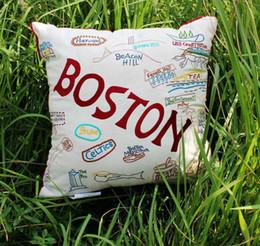 "Discount boston home vezo home embroider boston scenic spot cotton sofa cushions home decorative throw pillows case chair seat pillow case18*18"""