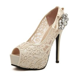 Wholesale Women High Heels Prom Wedding Sexy Lace Shoes Lady Crystal Platforms Glitter Rhinestone Thin Stiletto Heel Popular Party Pump
