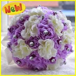 Wholesale Lilac and Gream Bridal Wedding Bouquets Wedding Decorations Artificial Bridesmaid Crystal Silk Rose Flower Beach Wedding Party Favors Cheap
