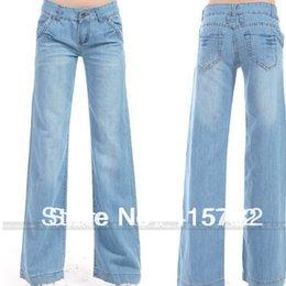 Wholesale New Arrival Fashion Loose Denim Wide Leg Pants Trousers For Women Blue Jeans Fashion Plus Size Summer Pants Pockets jeans