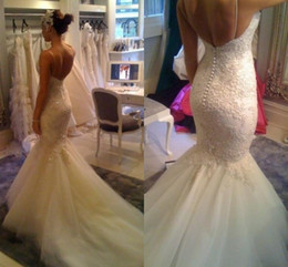 Wholesale 2015 Stunning Mermaid Spaghetti Backless Crystal Chapel Train Sheer Lace Tulle Wedding Dresses White Ivory Bridal Gown