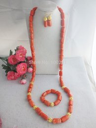 Nigerian Coral Beads, Pink Coral Drum Beads Jewelry Set For Men 48'' Free Shipping !!!W-1536