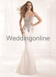 Wholesale Summer Sheer Tarik Ediz Formal Evening dresses Evening Gowns Sexy Illusion Crystals Rhinestone Vintage Pageant Prom Dresses