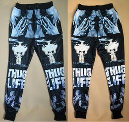 Wholesale 2015 new fashion men women s sport jogging pants D print Tupac Pac cool skinny sweatpants track running joggers trousers
