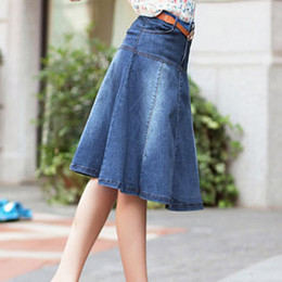 Discount Womens Denim Skirt Knee Length | 2017 Womens Denim Skirt ...