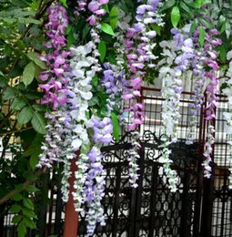 Wholesale Long Elegant Artificial Silk Flower Wisteria Vine Rattan For Wedding Centerpieces Decorations Bouquet Garland Home Ornament
