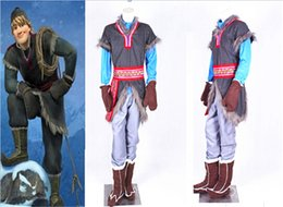 Wholesale 2014 Frozen Kristoff Outfit Movie Costume Cosplay Handmade For Men Party Costumes Halloween Party Cloth