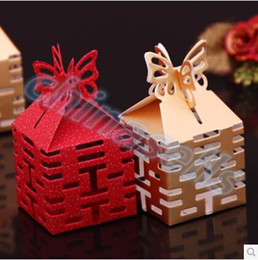 Wholesale Double Xi hollow wedding day wedding candy box marriage charm shower favor candy boxes wedding party gift hold bag
