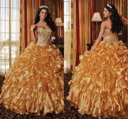 Wholesale Vintage Gold Shiny Quinceanera Dresses Corset Top Stunning Ruffles Sweetheart Lace up Full length Ball Gown Sweet Dress