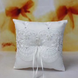 Wholesale Wedding Suppliers White Square Bridal Accessories r0411 Ring Pillows With Beading Appliqued Cheap Hot Sale Bridal Ring Pillows Accessor